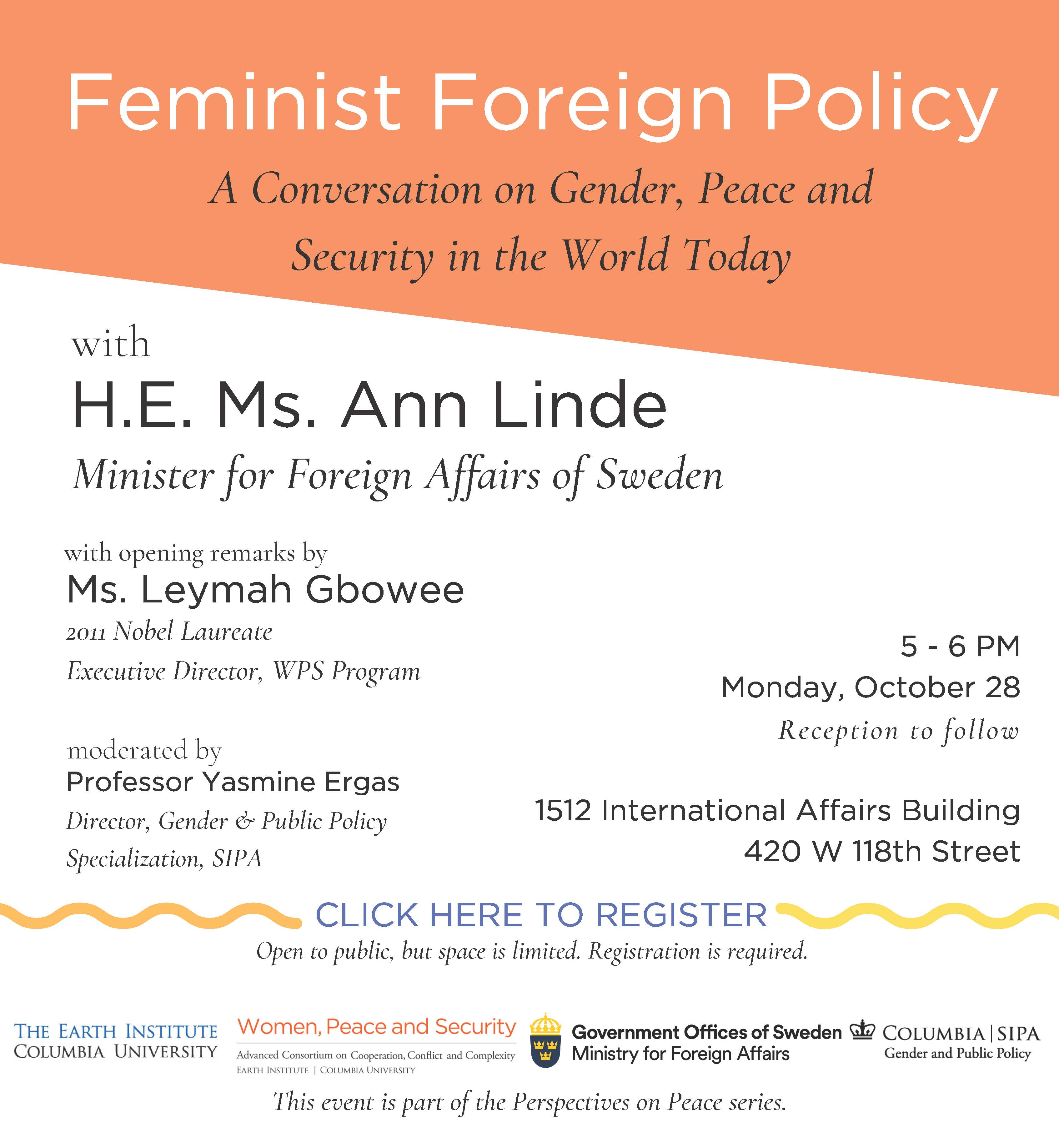 Flyer- Feminist Foreign Policy, WPS POP event